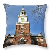 Independence Hall In Philadelphia Throw Pillow by Olivier Le Queinec