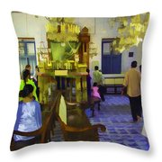 Inside The Historic Jewish Synagogue In Cochin Throw Pillow