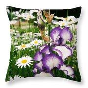 Iris And Daisies Throw Pillow