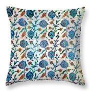 Iznik Ceramics With Floral Design Throw Pillow