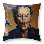 Jack Nicholson Painting Throw Pillow