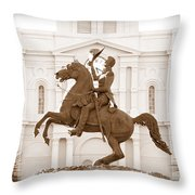 Jackson Square Statue In Sepia Throw Pillow