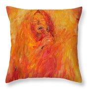 Janis Joplin On Fire Throw Pillow
