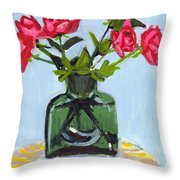 Jeff's Vase And Rodger's Roses Throw Pillow