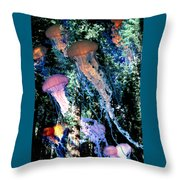Jellyfish Forest Throw Pillow