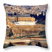 Jerusalem From Mount Olive Throw Pillow by Thomas R Fletcher