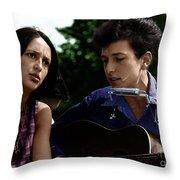 Joan Baez With Bob Dylan Throw Pillow