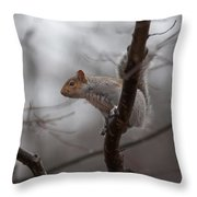 Jumping Squirrel Throw Pillow