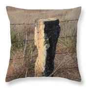 Kansas Country Limestone Fence Post Close Up With Grass Throw Pillow