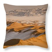 Khongor Sand Dunes In Winter Gobi Desert Throw Pillow