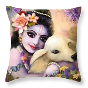 Krishna Gopal Throw Pillow by Lila Shravani
