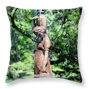 Lady At The Fountain Throw Pillow