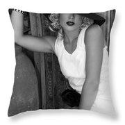 Lady In White Bw Throw Pillow