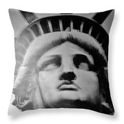 Lady Liberty In Black And White Throw Pillow