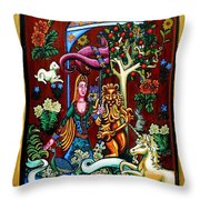 Lady Lion And Unicorn Throw Pillow