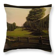 Landscape Of Duxbury Golf Course - Image Of Original Oil Painting Throw Pillow