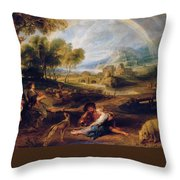 Landscape With A Rainbow Throw Pillow