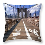 Lanes For Pedestrian And Bicycle Traffic On The Brooklyn Bridge Throw Pillow