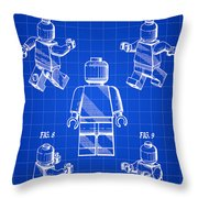 Lego Figure Patent 1979 - Blue Throw Pillow