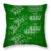 Lego Patent 1958 - Green Throw Pillow