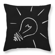 Light Bulb On A Chalkboard Throw Pillow