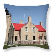 Lighthouse - Mackinac Point Michigan Throw Pillow