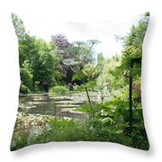 Lily Pond In Monets Garden Throw Pillow