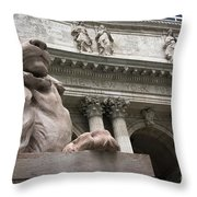 Lion New York Public Library Throw Pillow