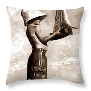 Little Boy In The Beach Throw Pillow