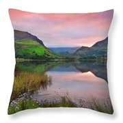 Llyn Nantlle At Sunrise Looking Towards Mist Shrouded Mount Snow Throw Pillow