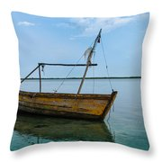 Lonely Boat Throw Pillow by Jean Noren