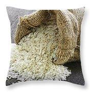 Long Grain Rice In Burlap Sack Throw Pillow