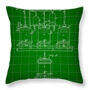 Louis Pasteur Beer Brewing Patent 1873 - Green Throw Pillow