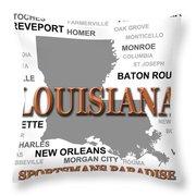 Louisiana State Pride Map Silhouette  Throw Pillow