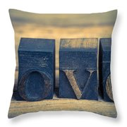 Love In Printing Blocks Throw Pillow