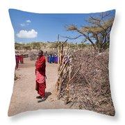 Maasai People And Their Village In Tanzania Throw Pillow