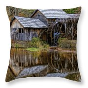 Mabry Mill Throw Pillow by Ola Allen