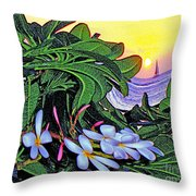 2 Mai Tais Waikiki Hawaii Throw Pillow
