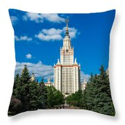 Main Building Of Moscow State University On Sparrow Hills Throw Pillow