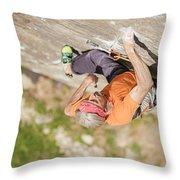 Man Climbing Re Azul, An Historic 7b Throw Pillow