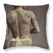 Man With Traditional Japanese Irezumi Tattoo Throw Pillow by Japanese Photographer