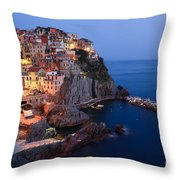 Manarola At Night In The Cinque Terre Italy Throw Pillow