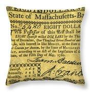 Massachusetts Banknote Throw Pillow