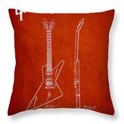 Mccarty Gibson Electrical Guitar Patent Drawing From 1958 - Red Throw Pillow