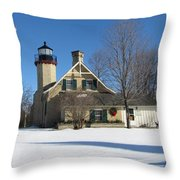 Mcgulpin Point Lighthouse In Winter Throw Pillow