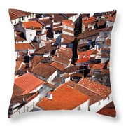 Medieval Town Rooftops Throw Pillow