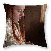 Medieval Tudor Woman With Red Hair  Throw Pillow