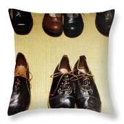 Mens Fine Italian Leather Shoes Throw Pillow