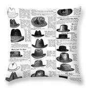 Men's Hats, 1895 Throw Pillow