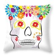 Mexican Sugar Skull For Dia De Los Muertos Throw Pillow
